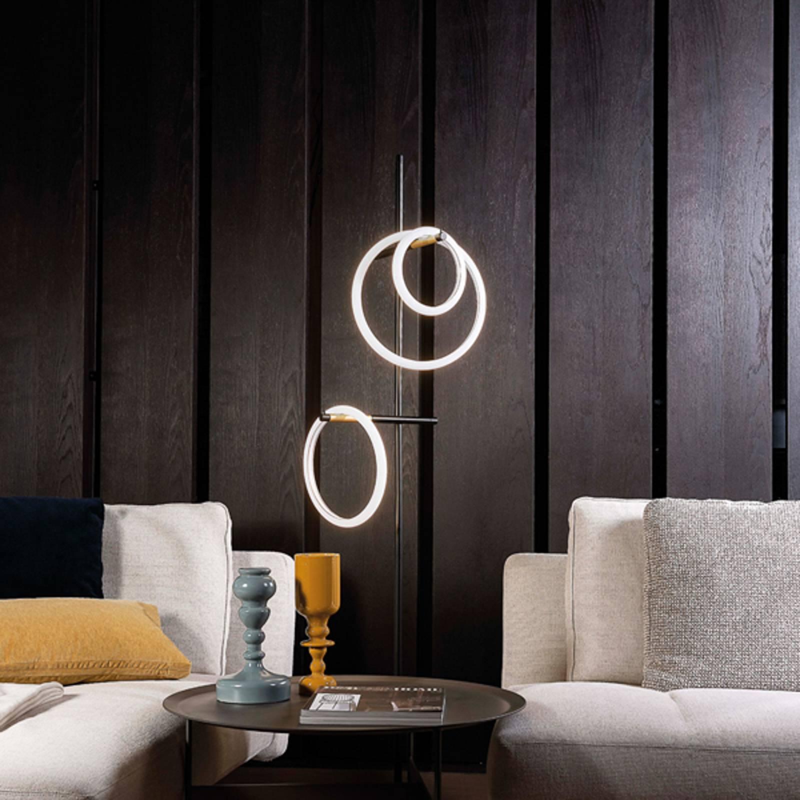 LED vloerlamp Ulaop, drie ringen, zwart