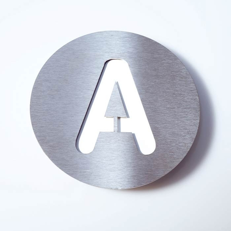 Husnummer Round av rustfritt stål A-F