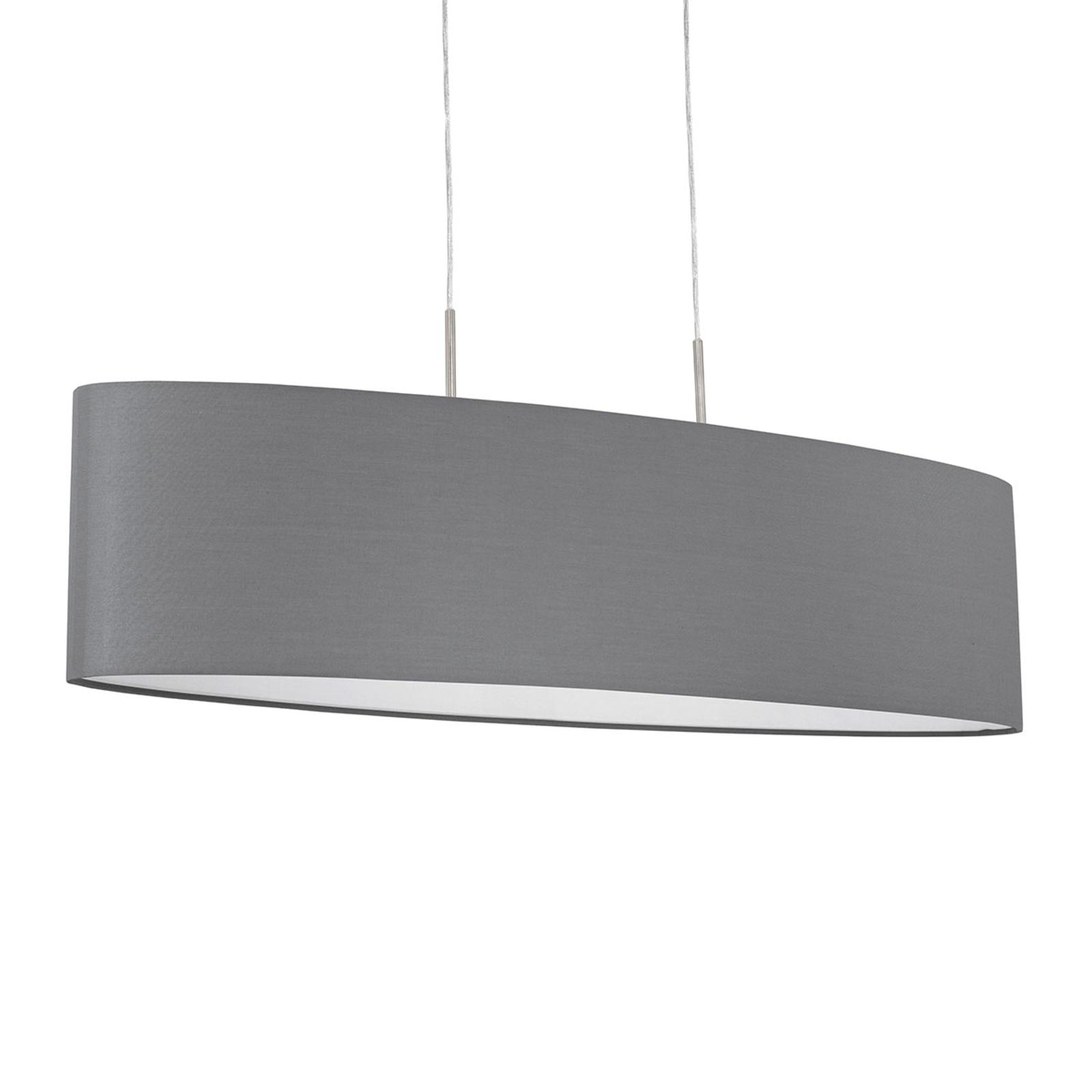 Lámpara colgante Pasteri con pantalla textil gris