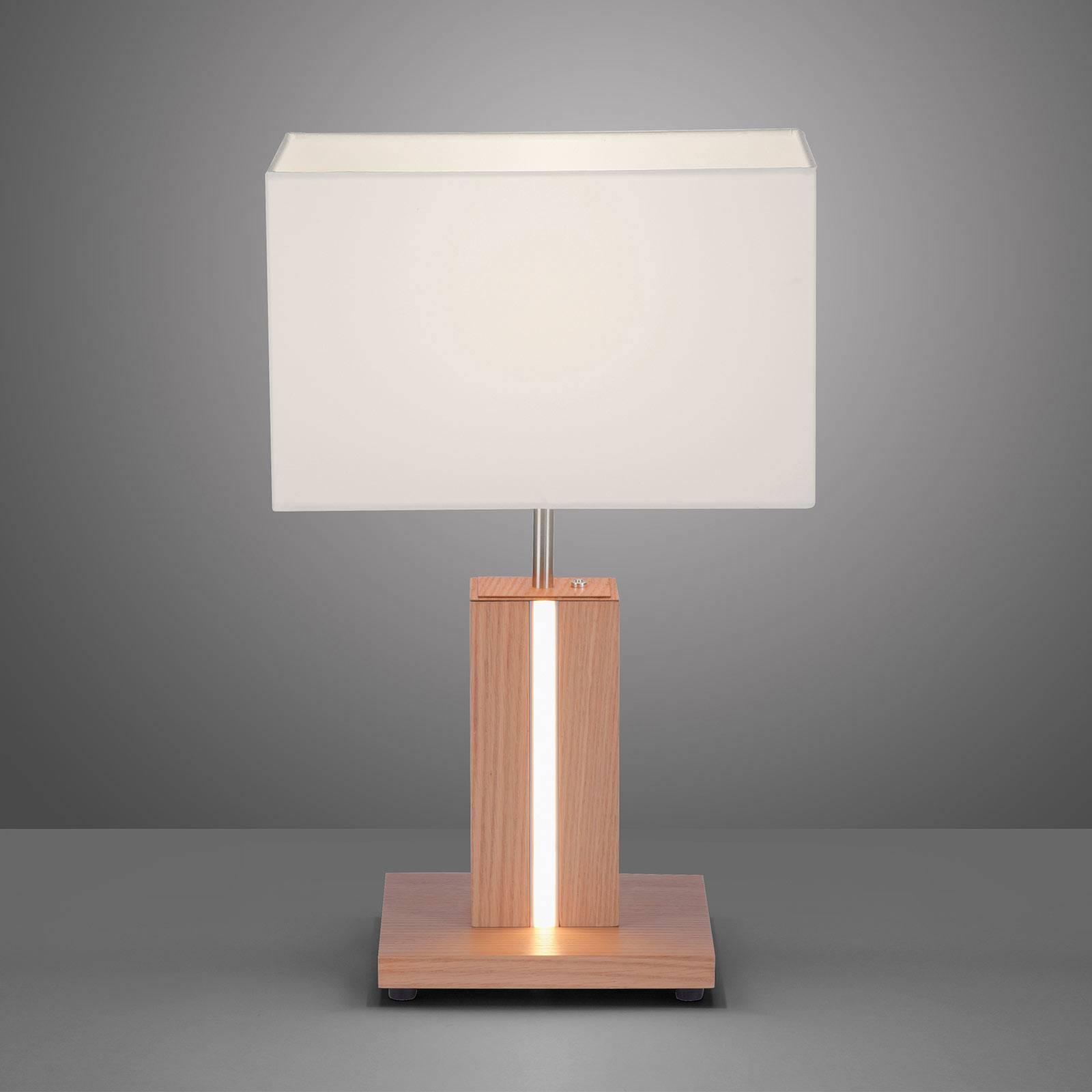 Tafellamp Amanda in houtoptiek 2-lamps