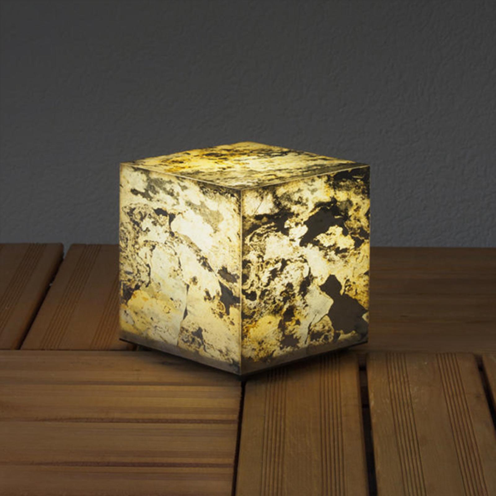 Koristeellinen luonnonliuske kuutiovalaisin, 19 cm