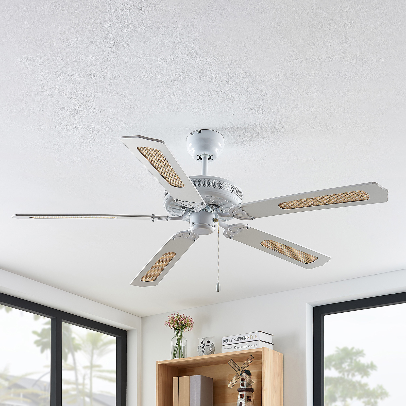 Lindby Ruhne ceiling fan, white | Lights.co.uk