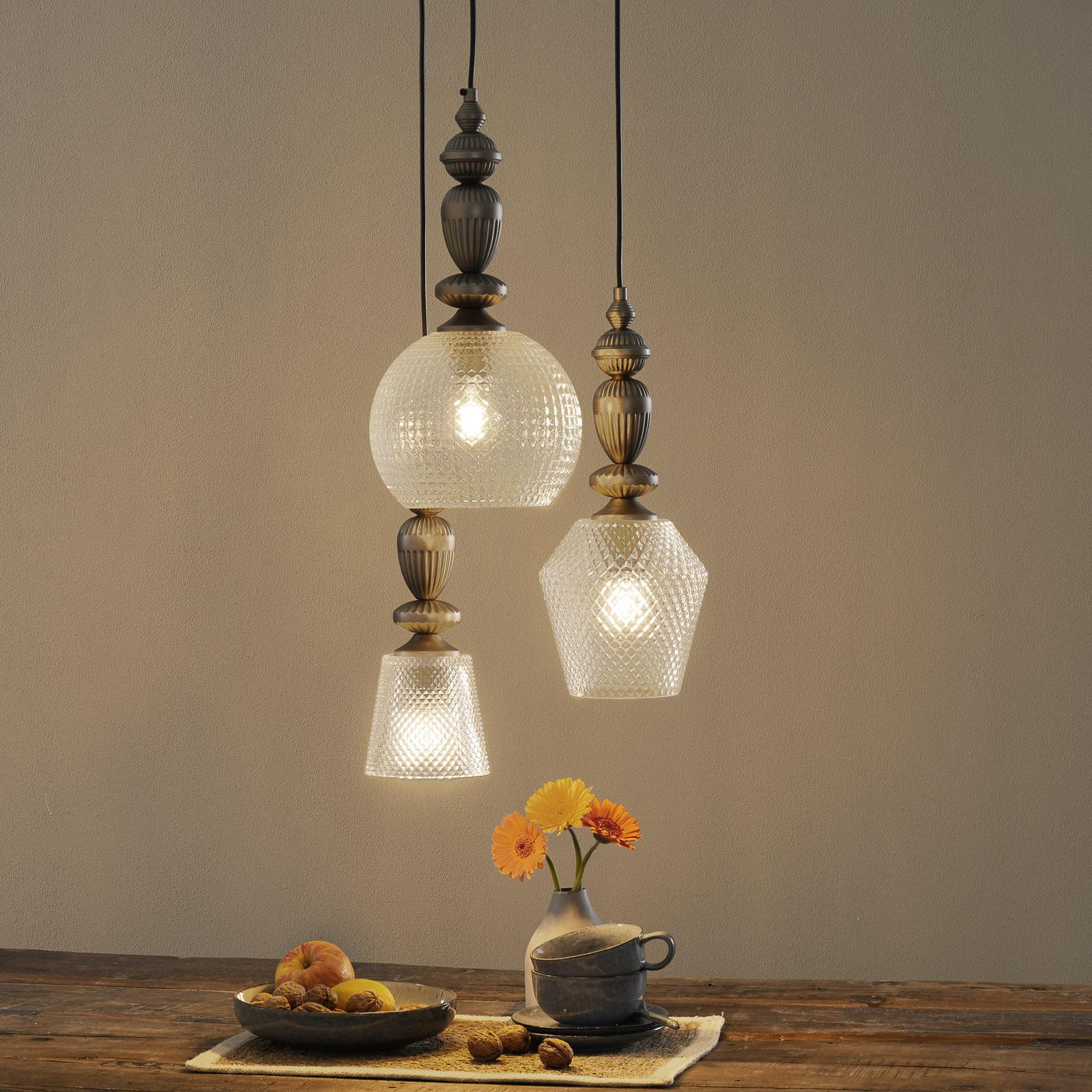 Glass-pendellampe Talisa tre lyskilder