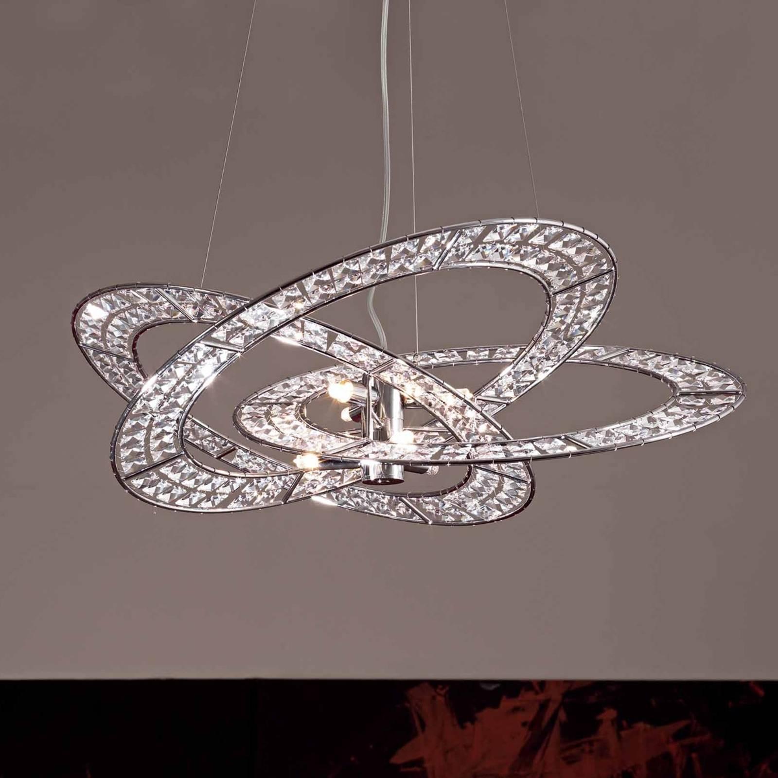 Kristallen hanglamp Trilogy, 6-lichts transparant