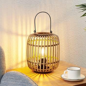 Lindby Canyana lámpara de mesa de ratán, natural
