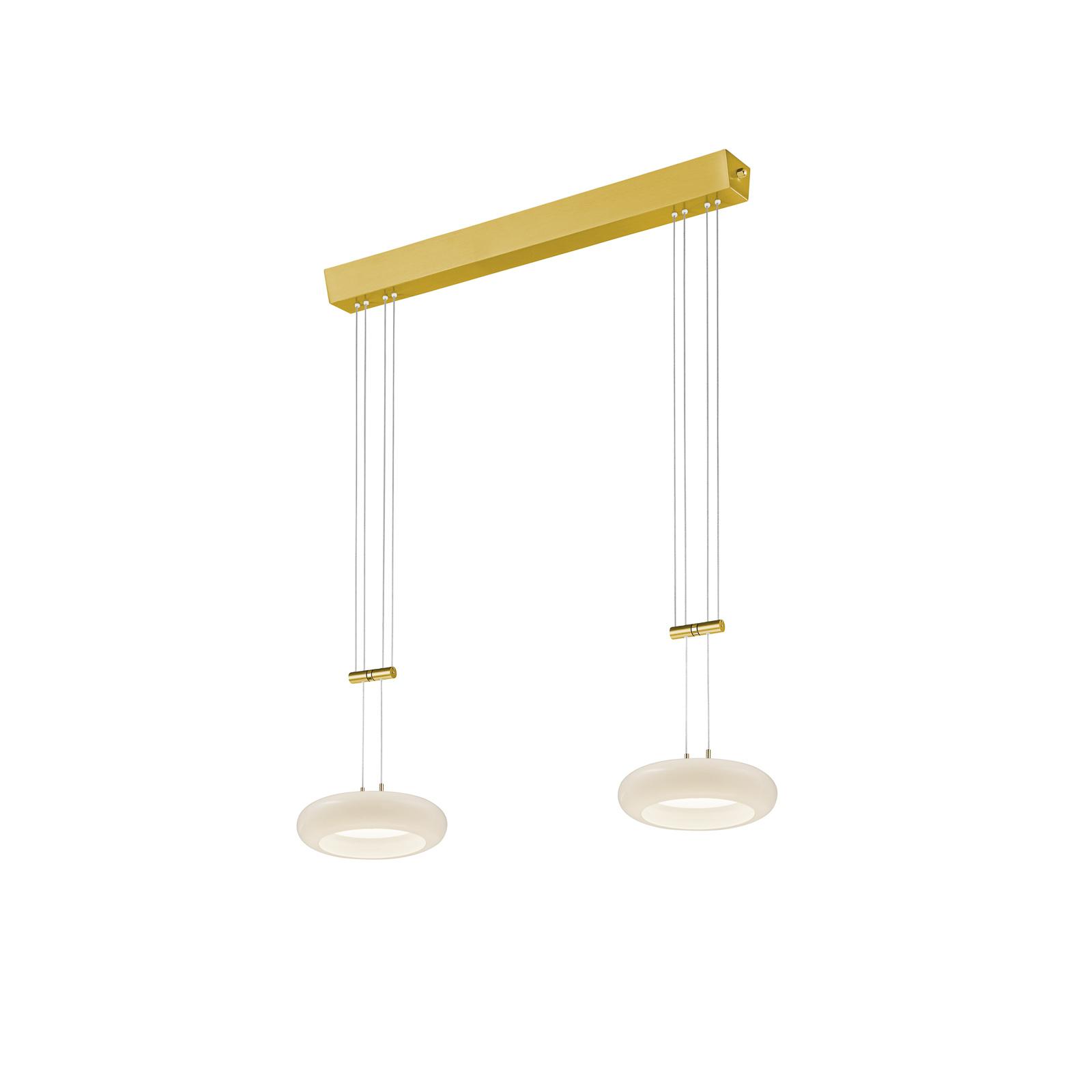BANKAMP Centa hængelampe, 2 lyskilder, messing