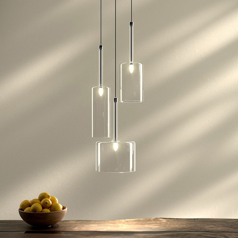 Spillray - glas pendellampe med 3 lyskilder