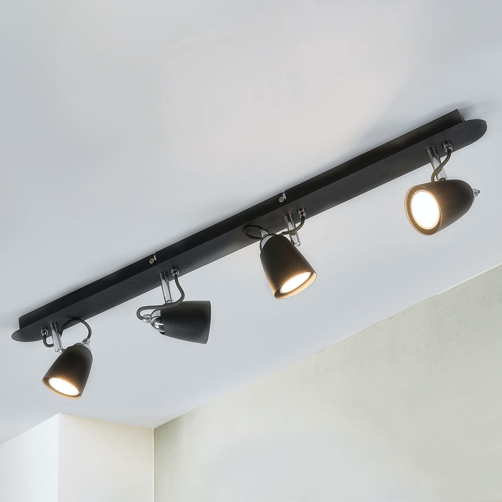 Plafonnier Marko, 4 lampes, noir