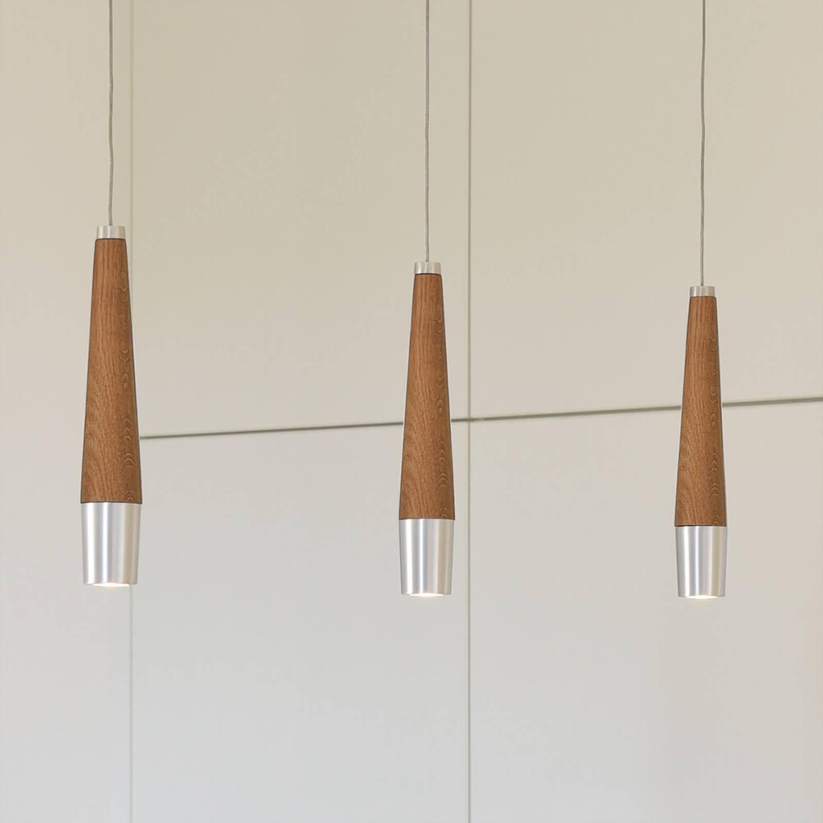 HerzBlut Conico lampa wisząca dąb olejowany 3-pkt.