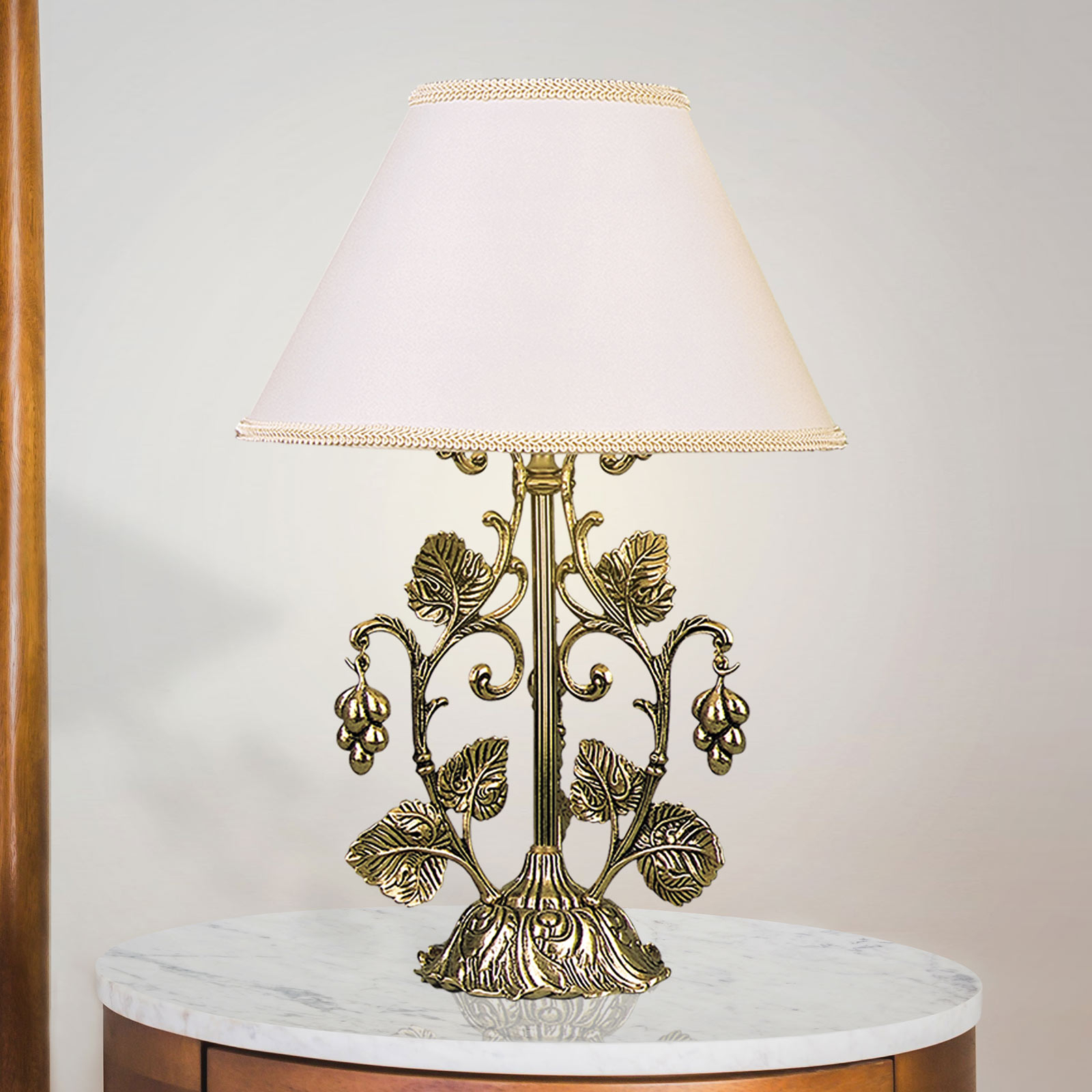 Bordlampe Albero, guld bruneret, hvid