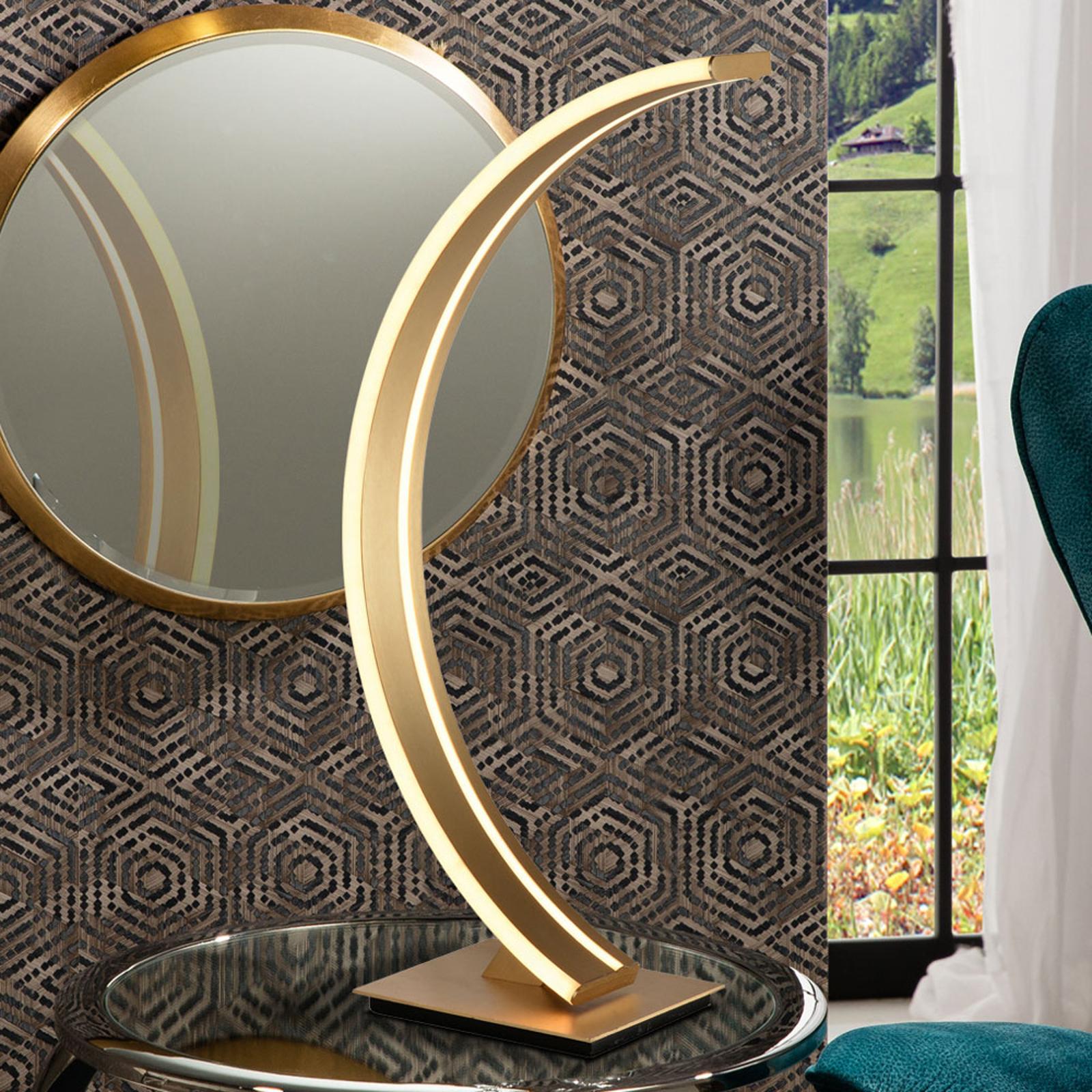 LED-Bogen-Tischlampe Arcus mit goldenem Finish