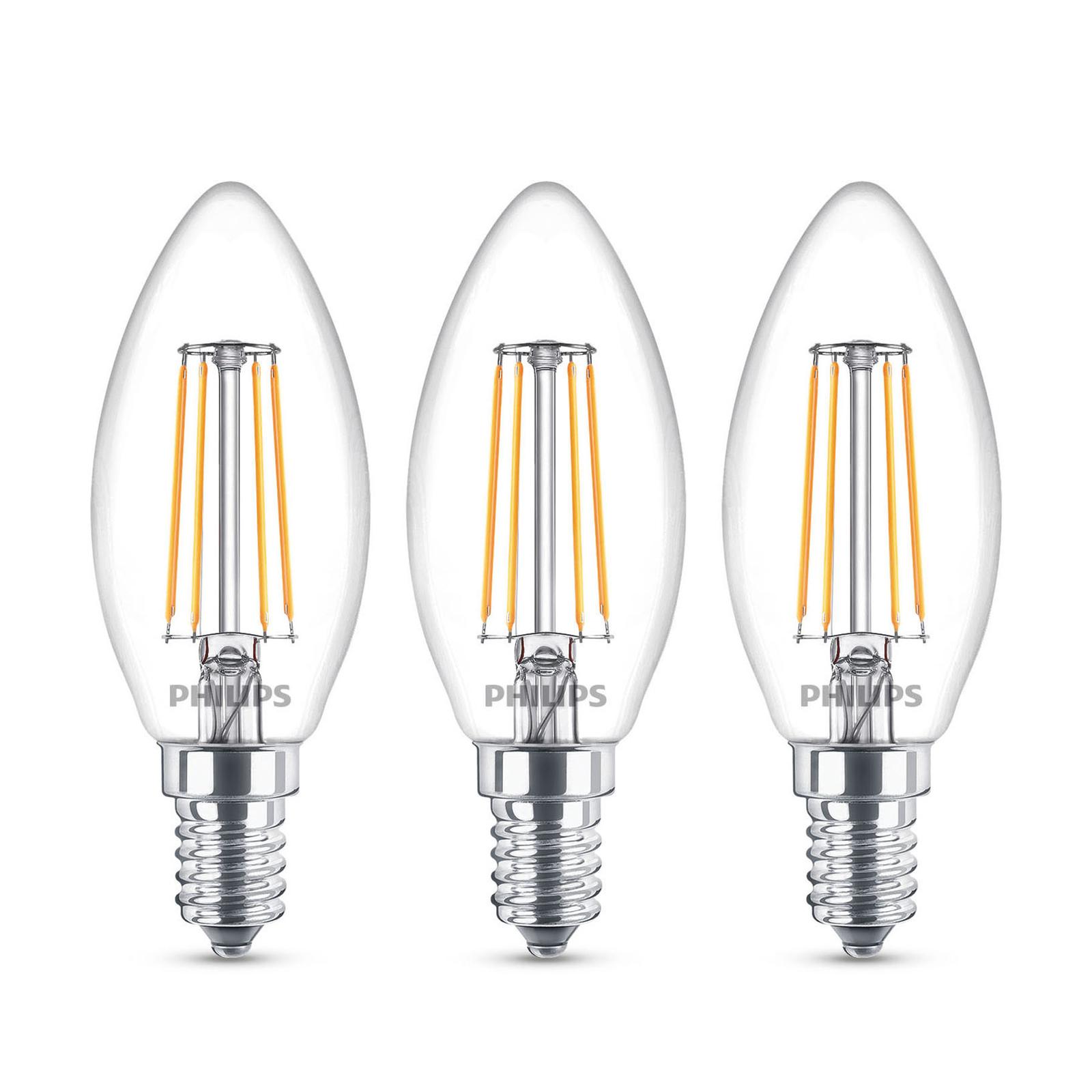 Philips LED-Kerzenlampe E14 B35 4,3W klar 3er-Pack