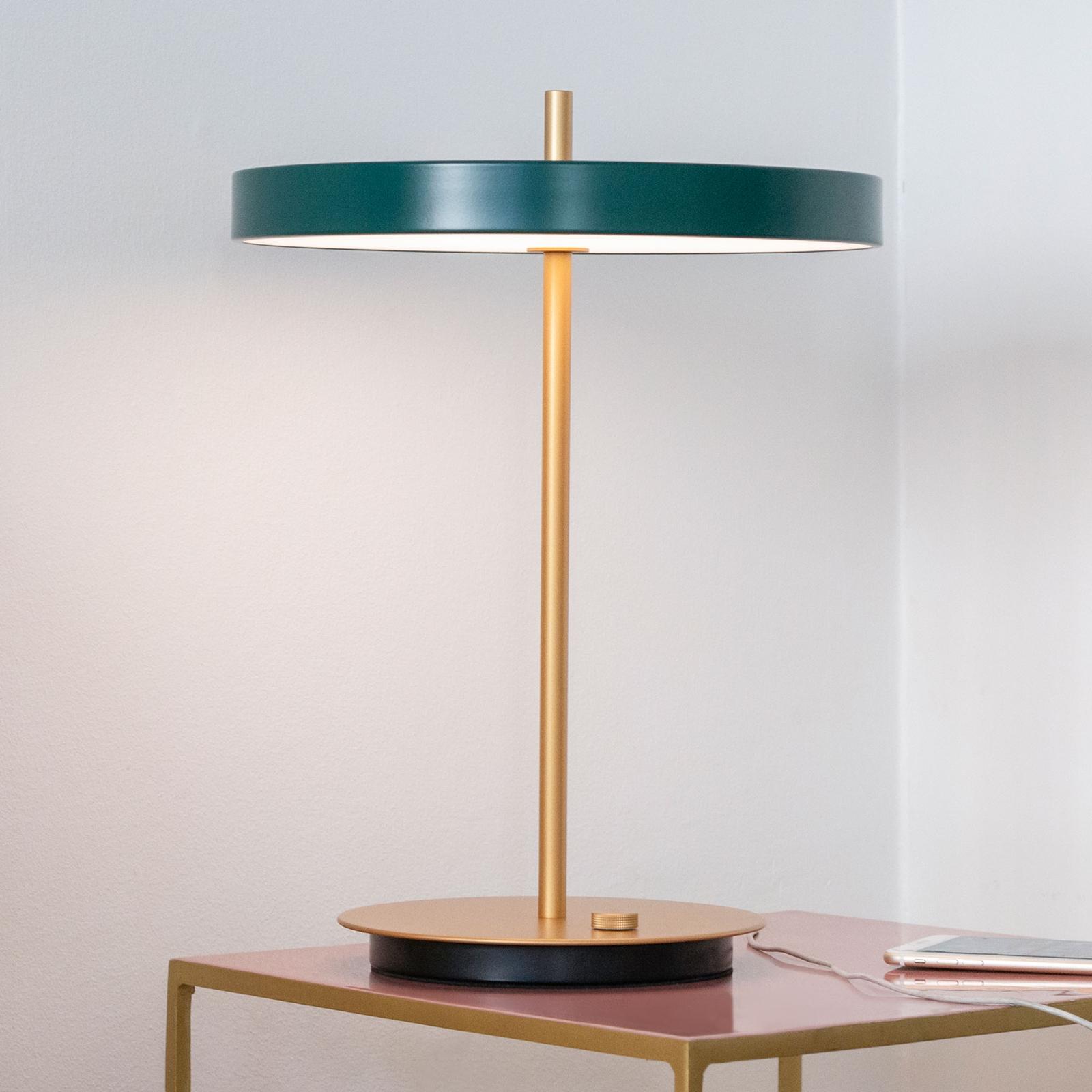UMAGE LED-bordslampa Asteria table USB skogsgrön
