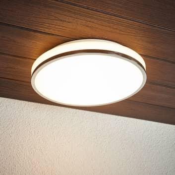 Lámpara de techo LED para baño Lyss, borde cromado
