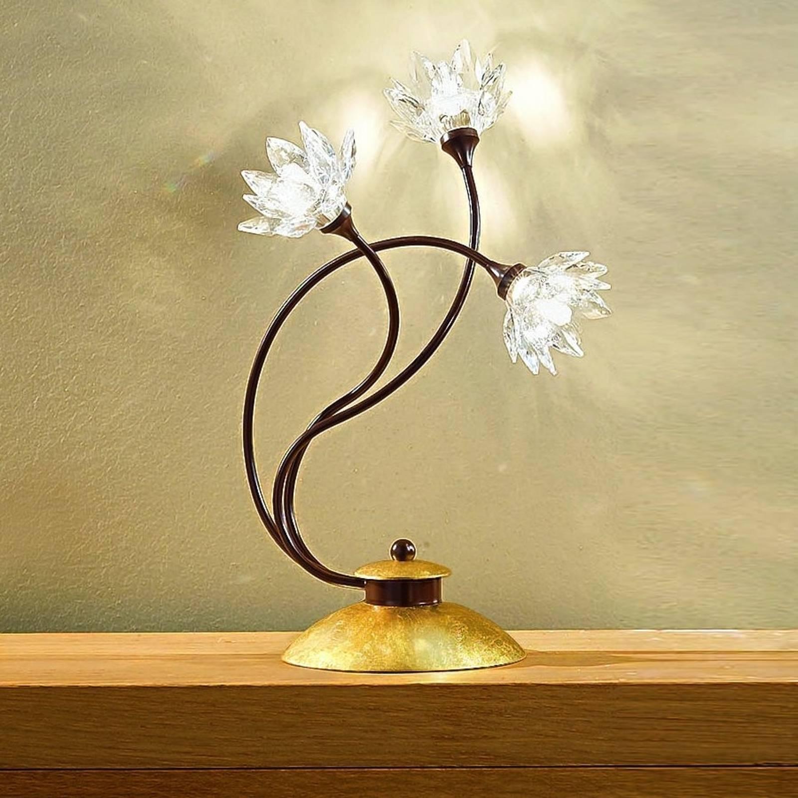Bloemvormige tafellamp Fiorella, helder kristal