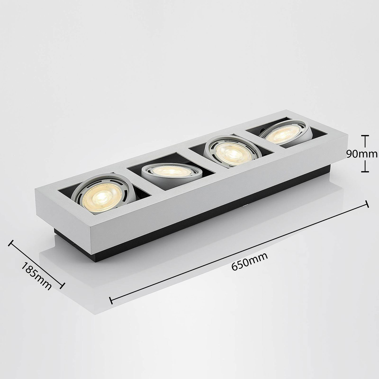 LED-Deckenstrahler Ronka, 4-fl., lang, weiß