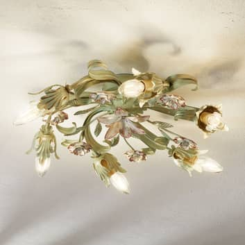 Blommigt dekorerad taklampa Tulipe, 6 ljuskällor
