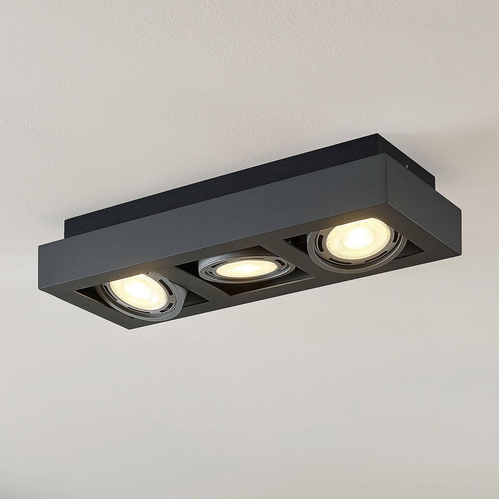 LED-Deckenstrahler Ronka, GU10, 3-fl., dunkelgrau