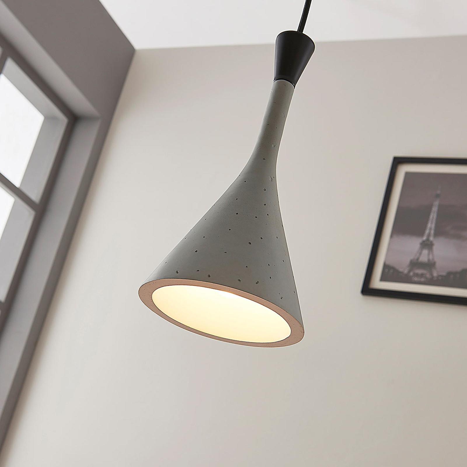 Moderna lampada a sospensione Flynn grigio cemento