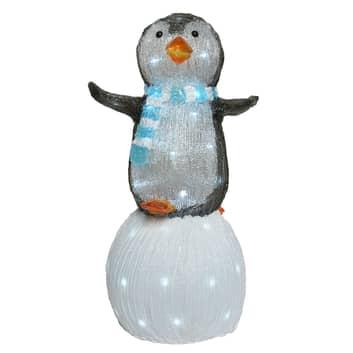 LED-Figur Pinguin auf Schneeball für außen