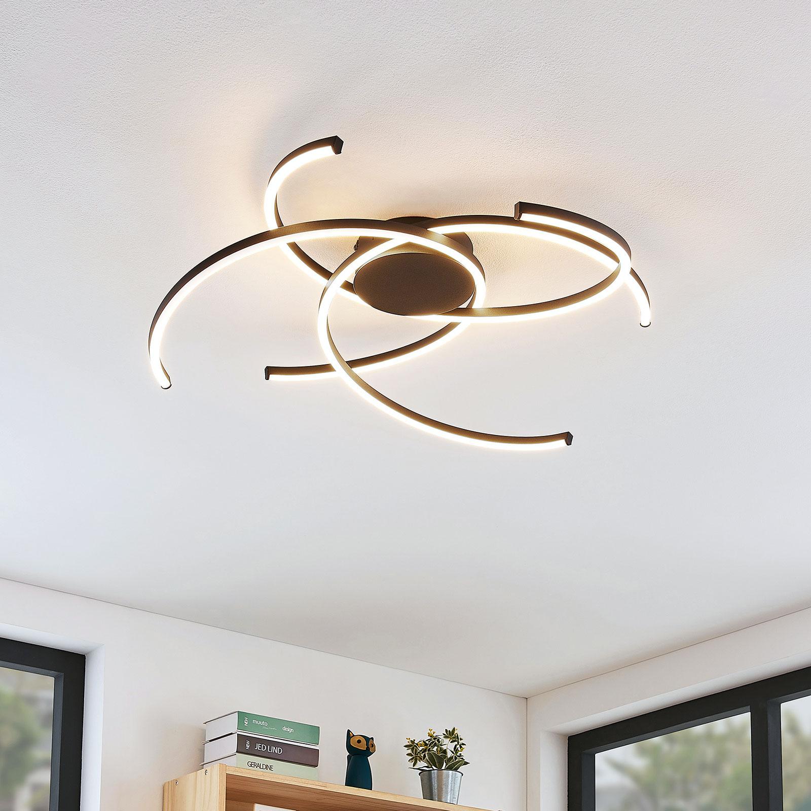 Lindby Katris plafonnier LED, 73 cm, noir