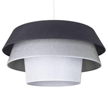 Lámpara colgante textil Lotos, grafito/gris/blanco