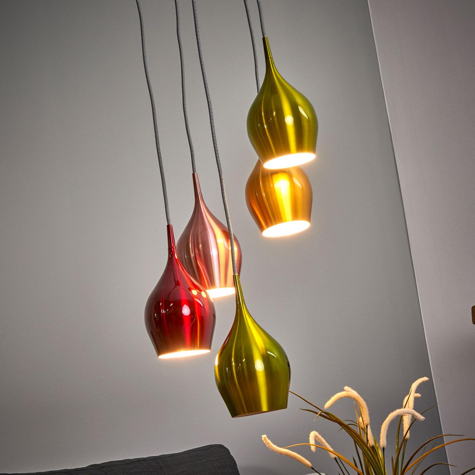Suspension Vibrant, abat-jours colorés 5 lampes