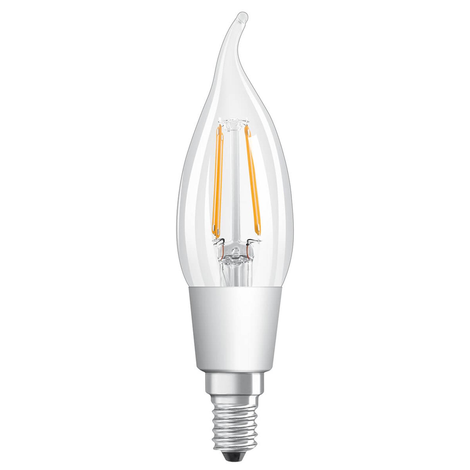 LED-Windstoßlampe E14 5W warmweiß dimmbar klar