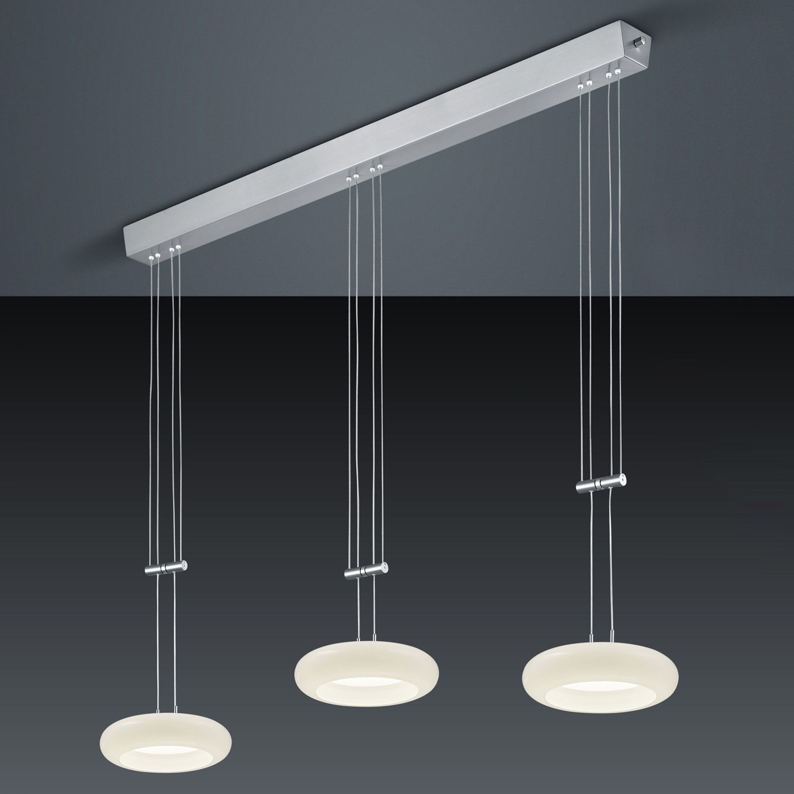 BANKAMP Centa suspension à 3 lampes nickel