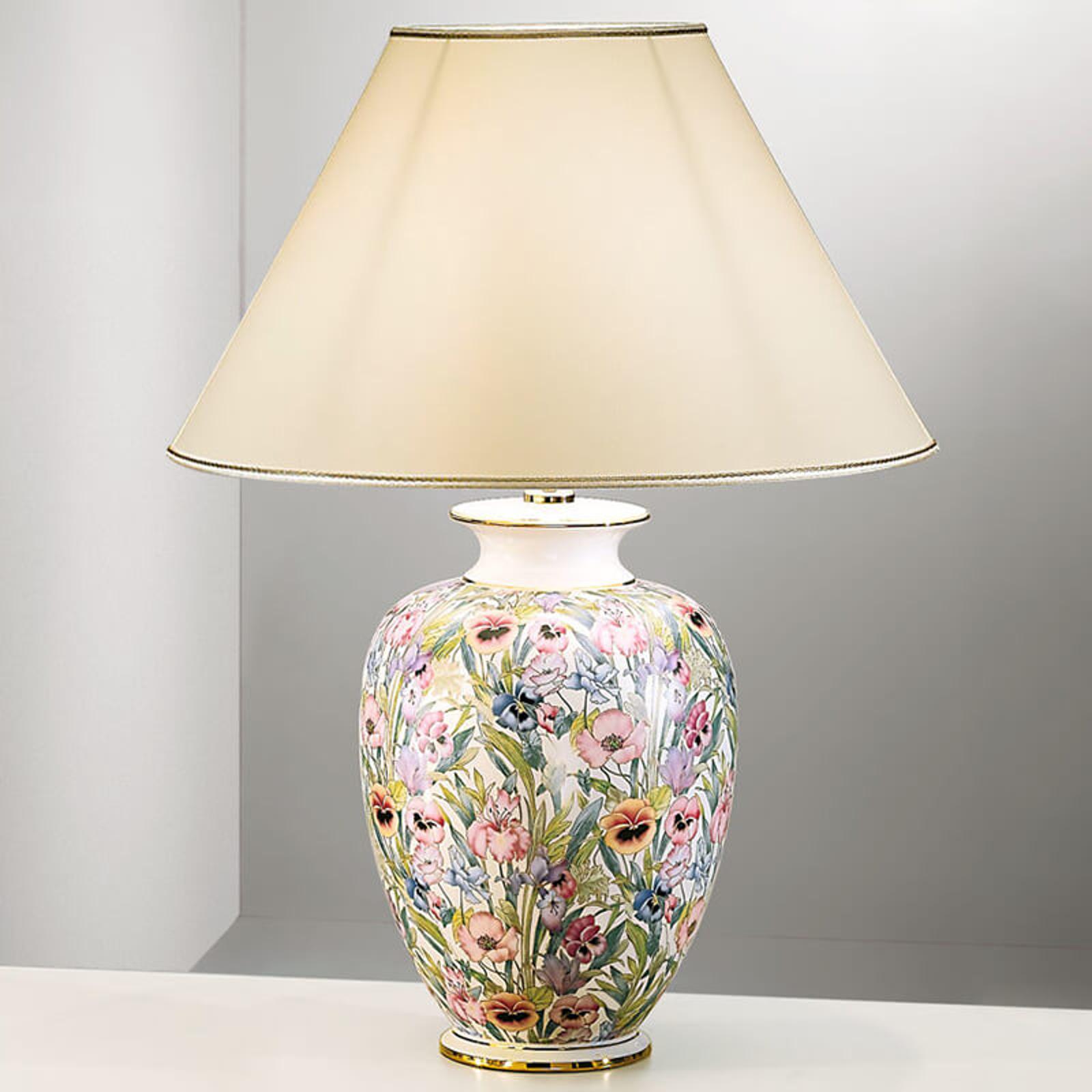 Handbeschilderde tafellamp GIARDINO PANSE, 50 cm
