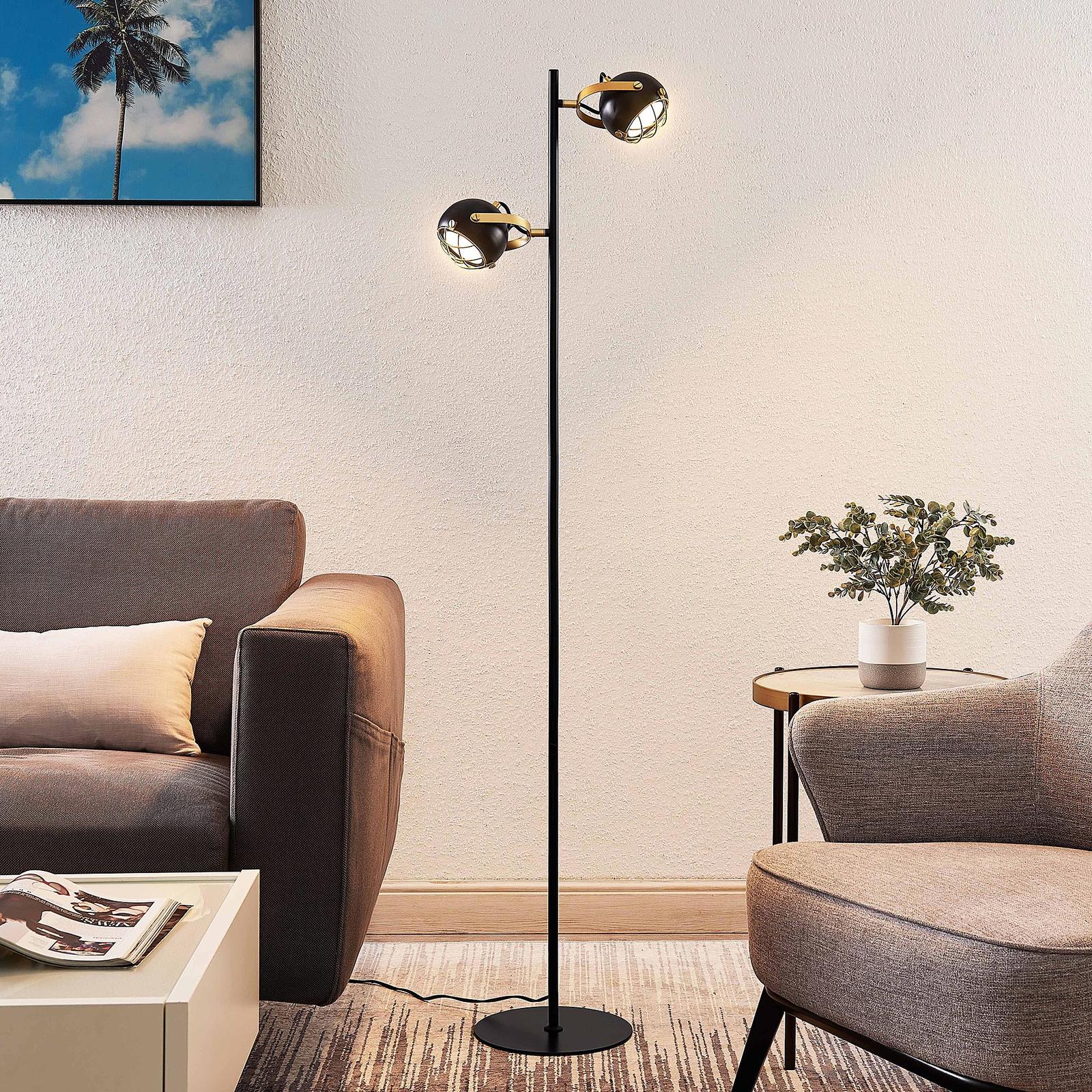 Lindby Dawid LED-Stehleuchte mit Dekor in Gold