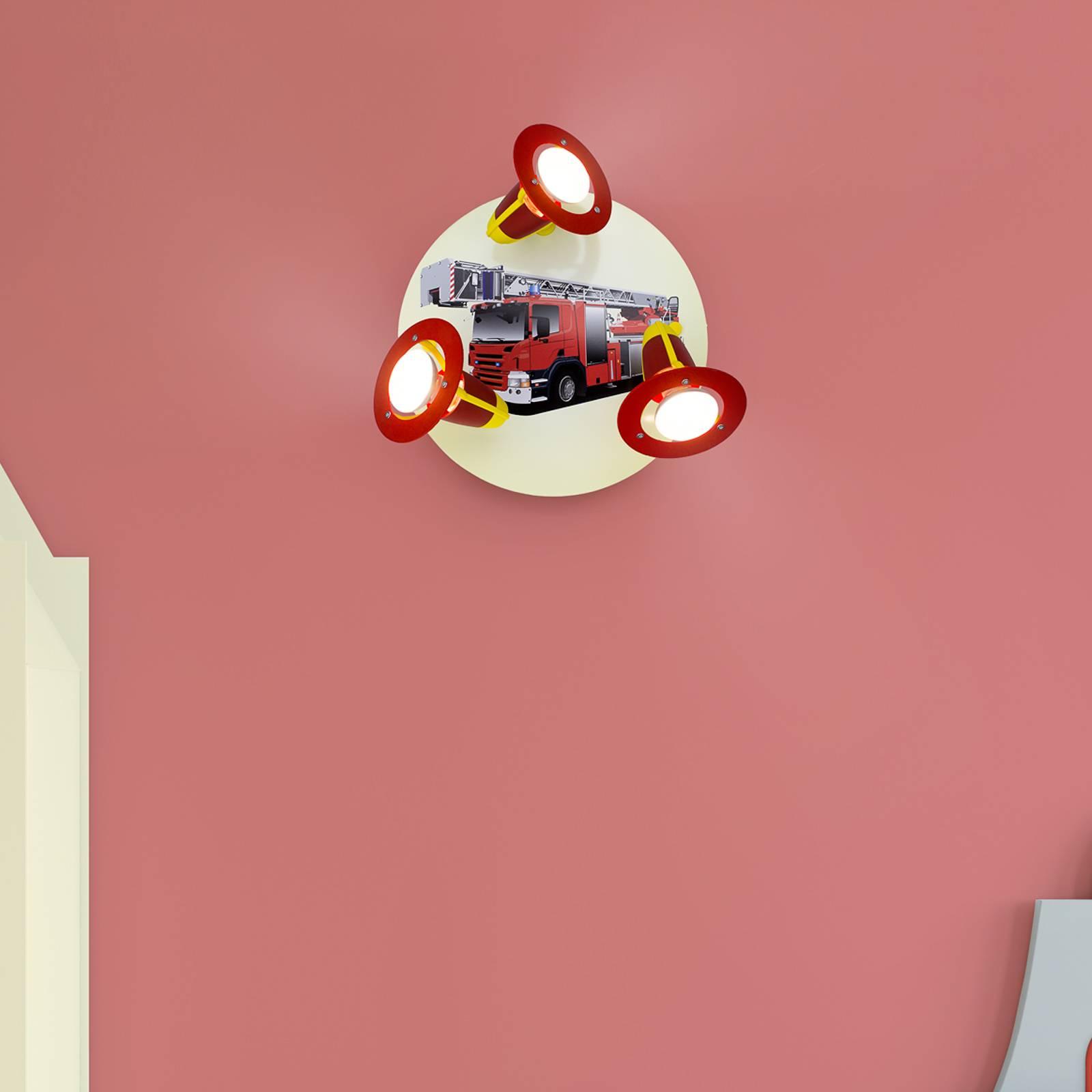 Wandleuchte Feuerwehrauto, rot-gelb, dreiflammig