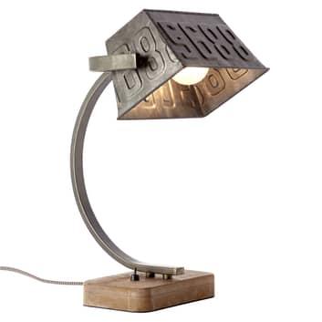 Kovová stolní lampa Drake s dřevěnou nohou