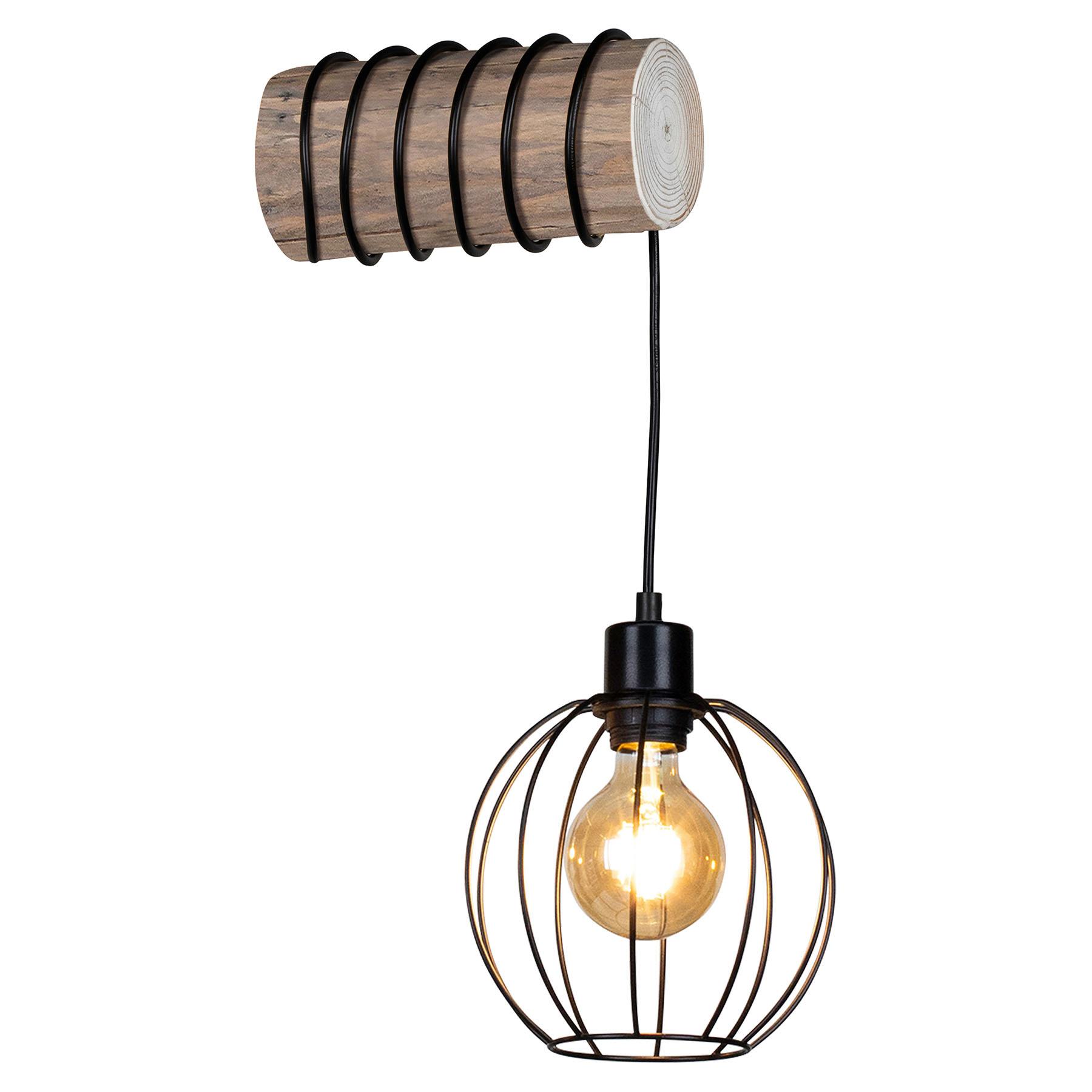 Wandlamp Karou, grijs gebeitst