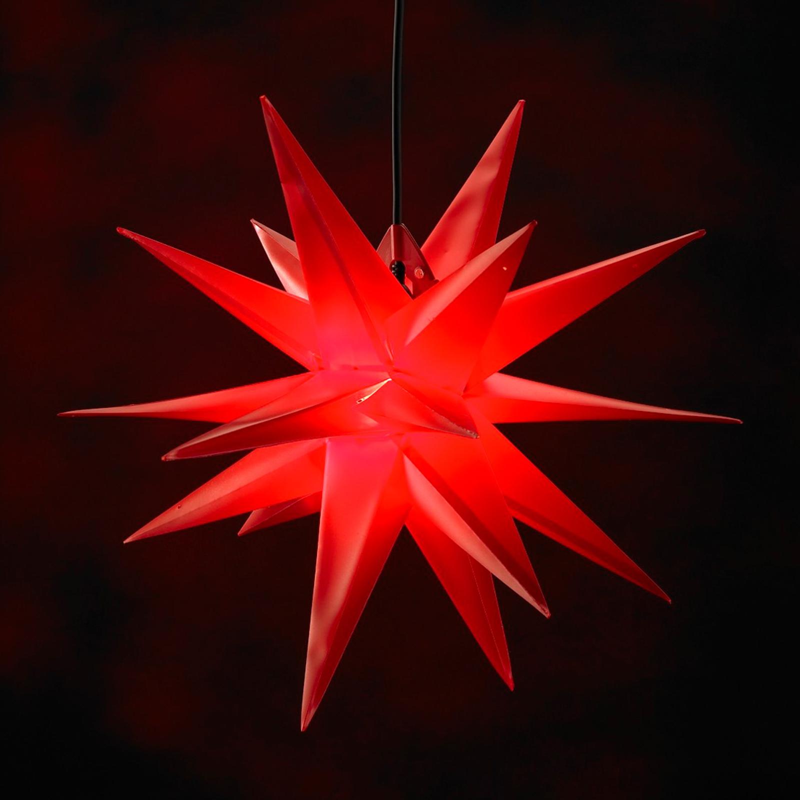 Rød kunststof-stjerne Jumbo, udendørs, 18 takker
