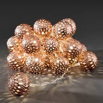 Cadena 24 LED bolas metálicas cobre, blanco cál.