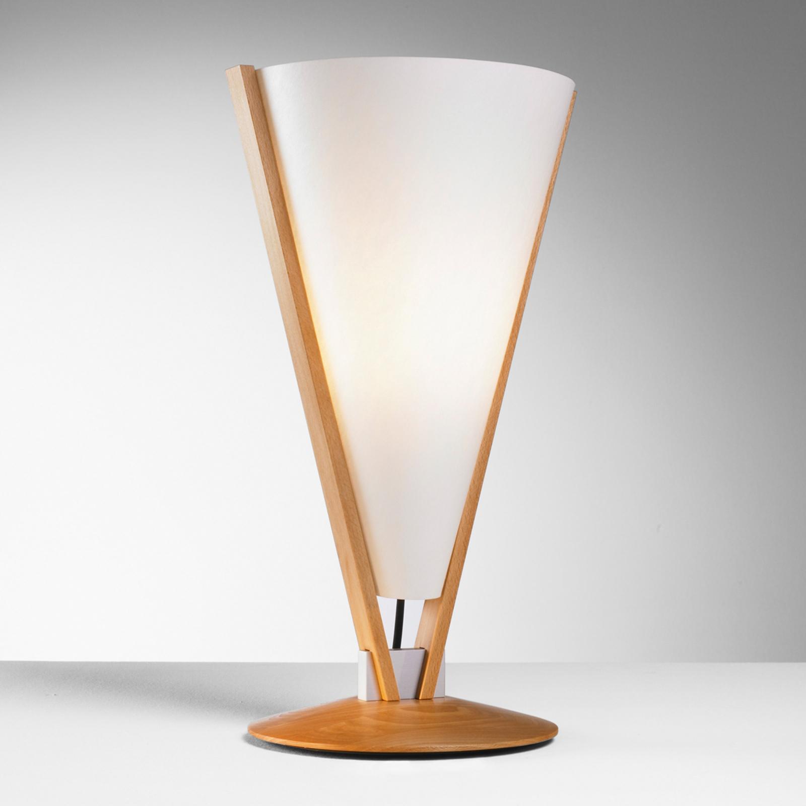 Stolní lampa SEBA s ručním vypínačem, buk