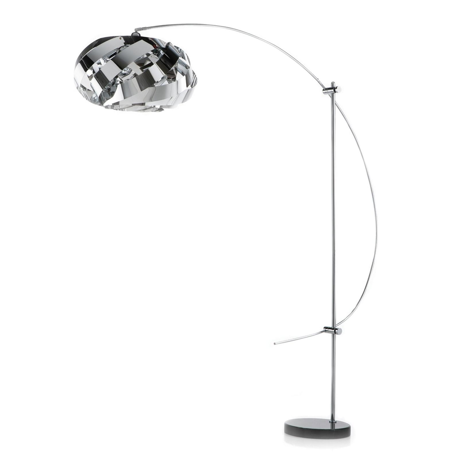 Plaza - moderne og pen buet lampe, krom