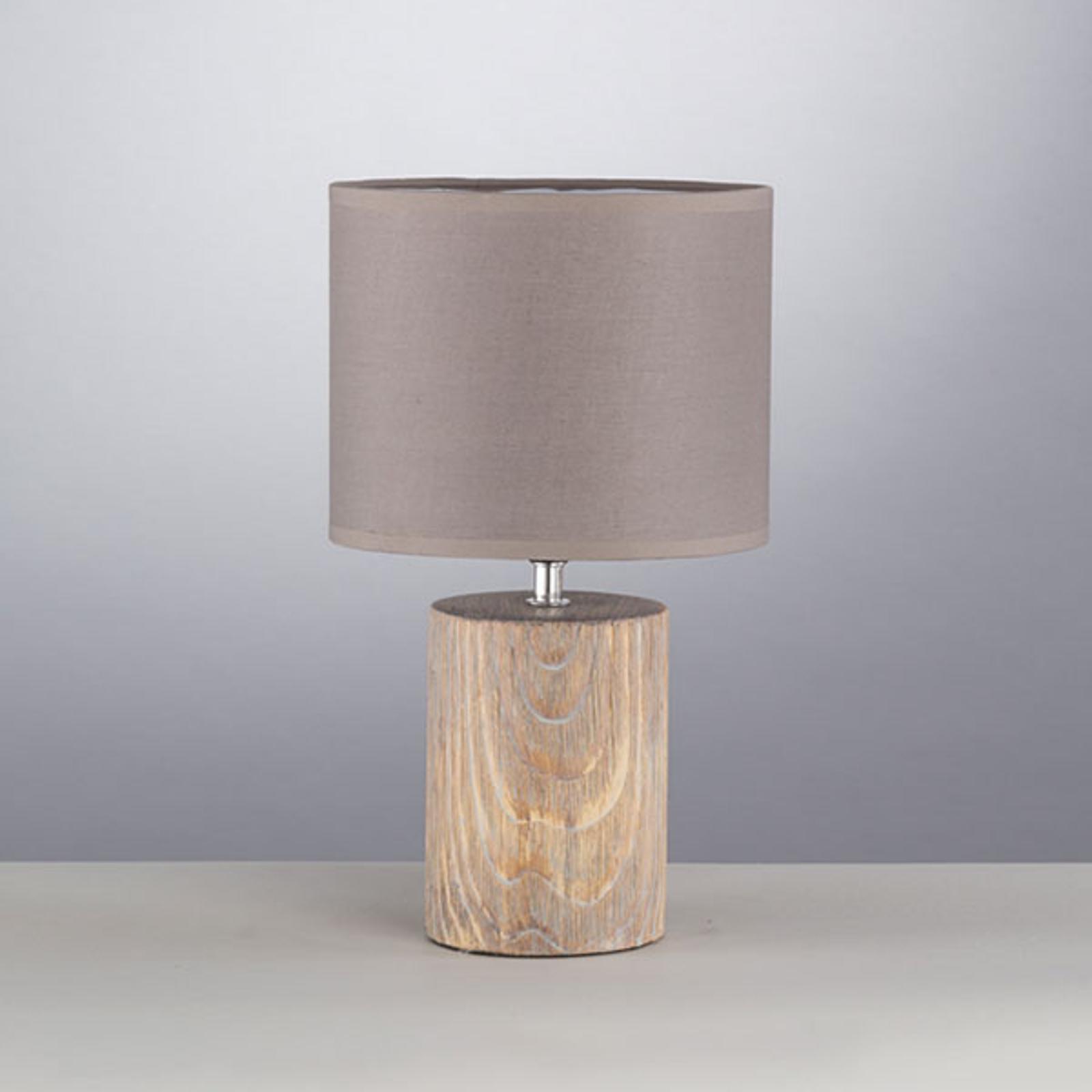 Lámpara de mesa Malik en aspecto madera, 43 cm