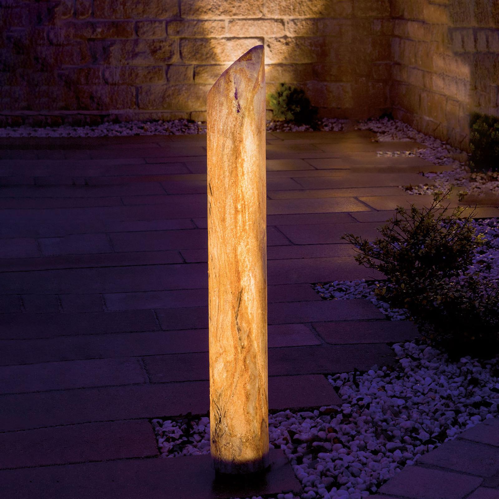 Lysande LED-pelare Sahara med sandsten, 41 cm