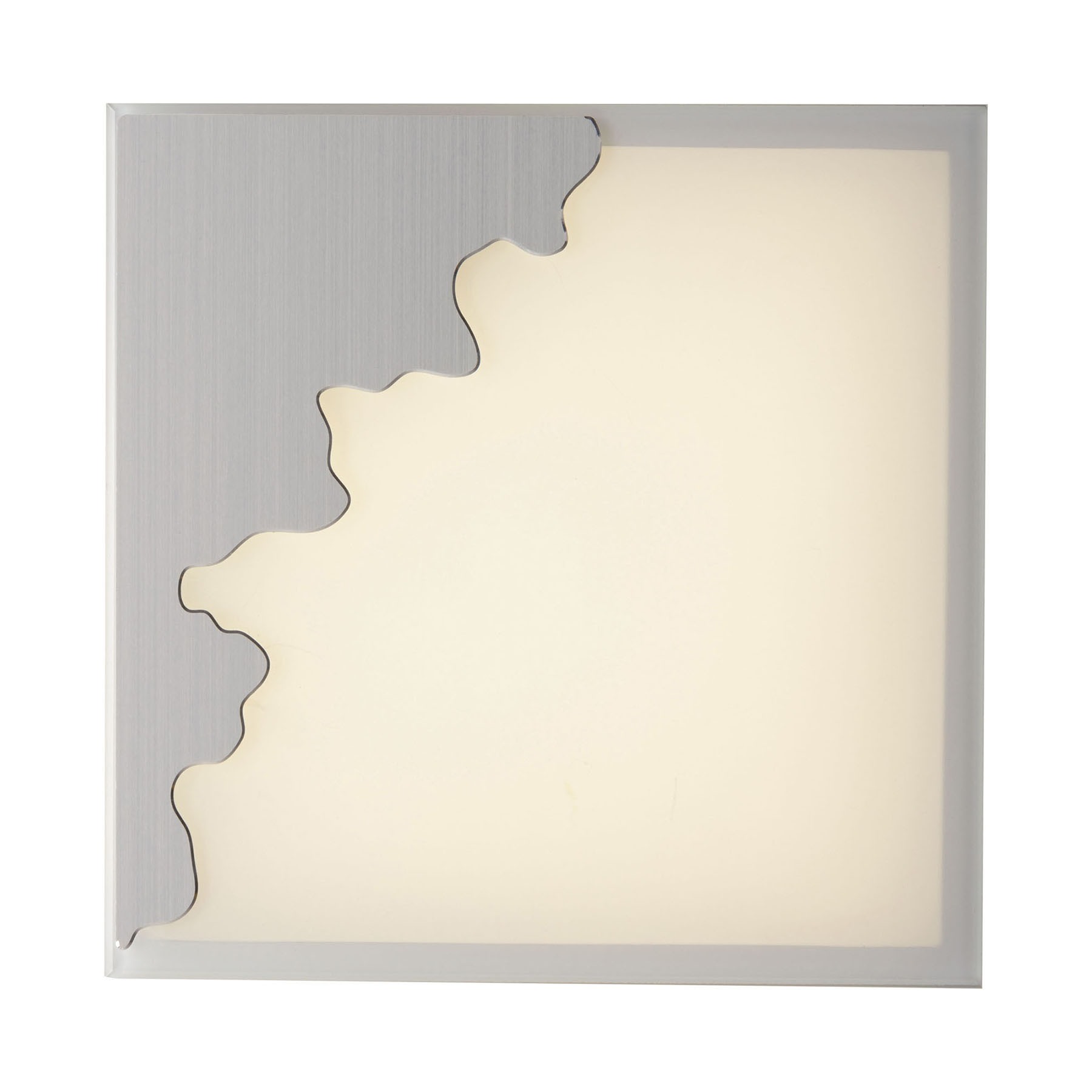 Wandlamp Chic, hoekig, zilver/gesatineerd, 38x38cm