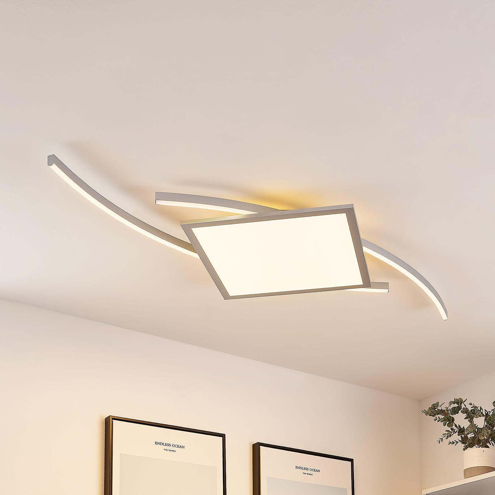 Lucande Tiaro LED-taklampe, kantet, 56,6 cm, CCT
