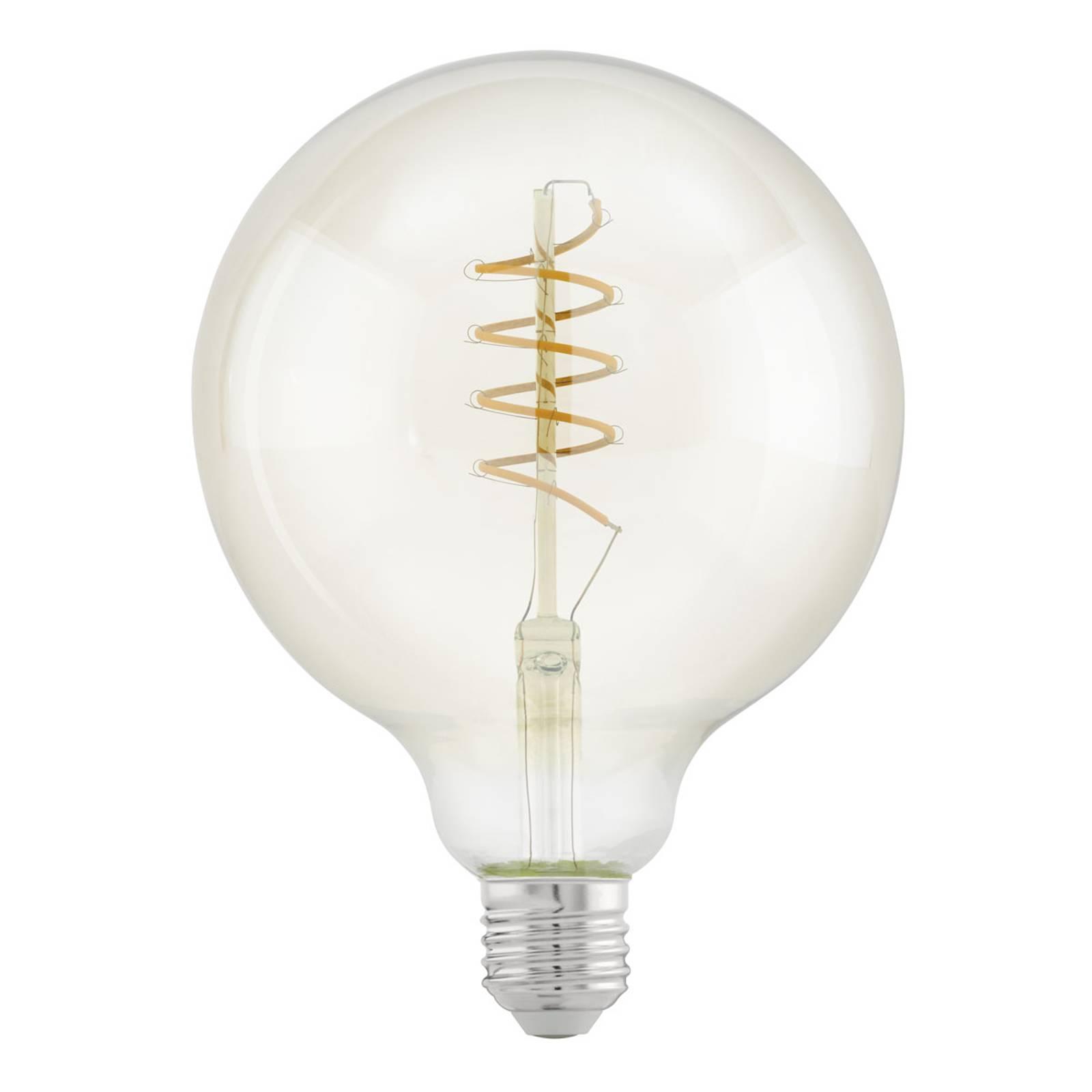 LED E27 G125 4W spirale, bianco caldo, trasparente