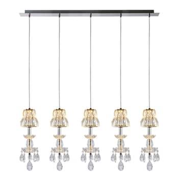 Lucande Yasanie suspension LED, 5 lampes, allongée