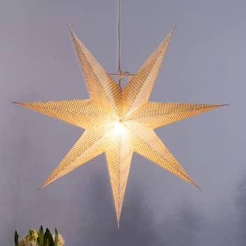 Hvězda bílý papír, děrovaný vzor, 7cípá