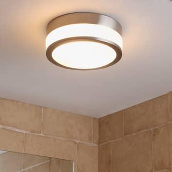 Lindby Flavi loftlampe til badet, Ø 23 cm, nikkel