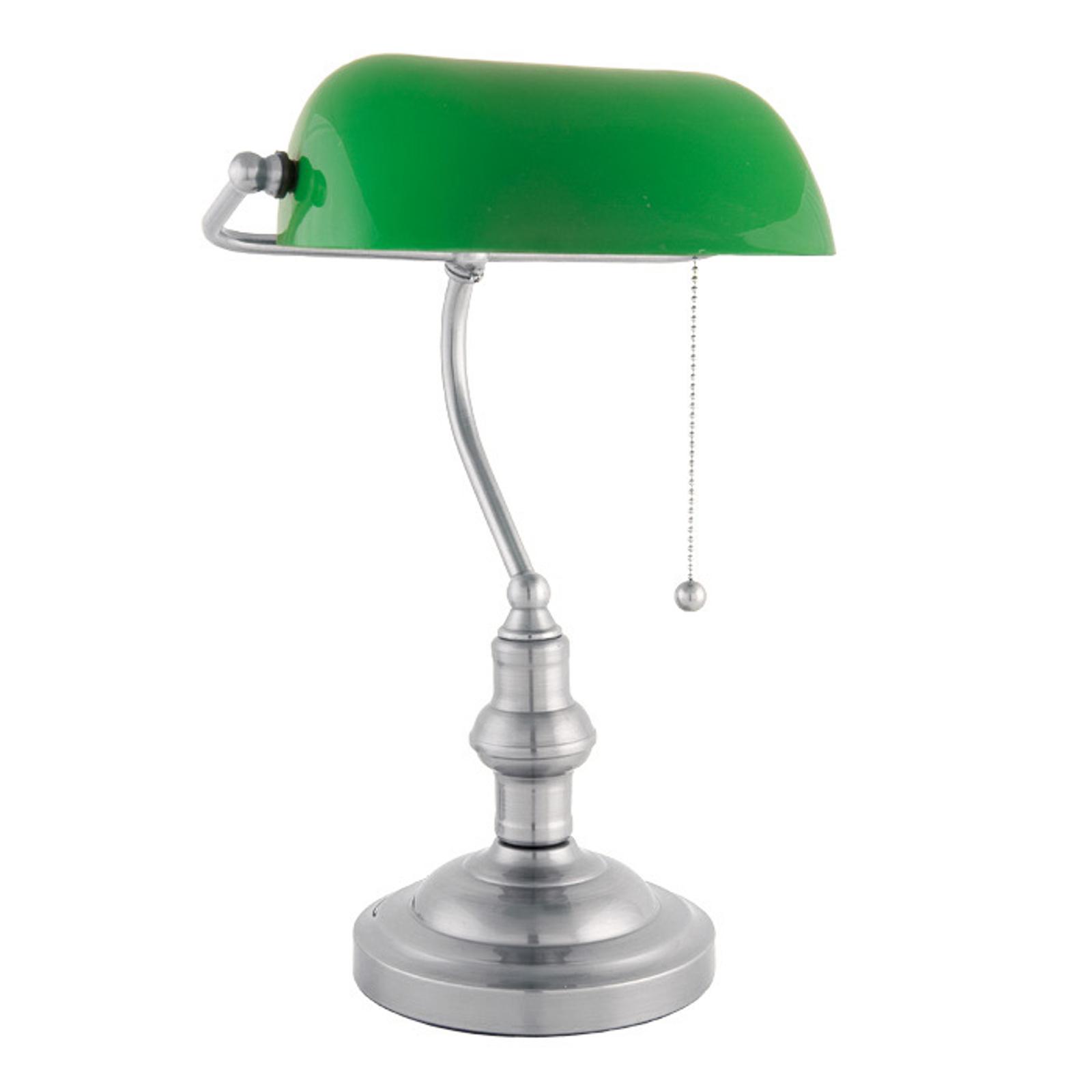 Bankerlampe Verda mit Fuß in Nickel