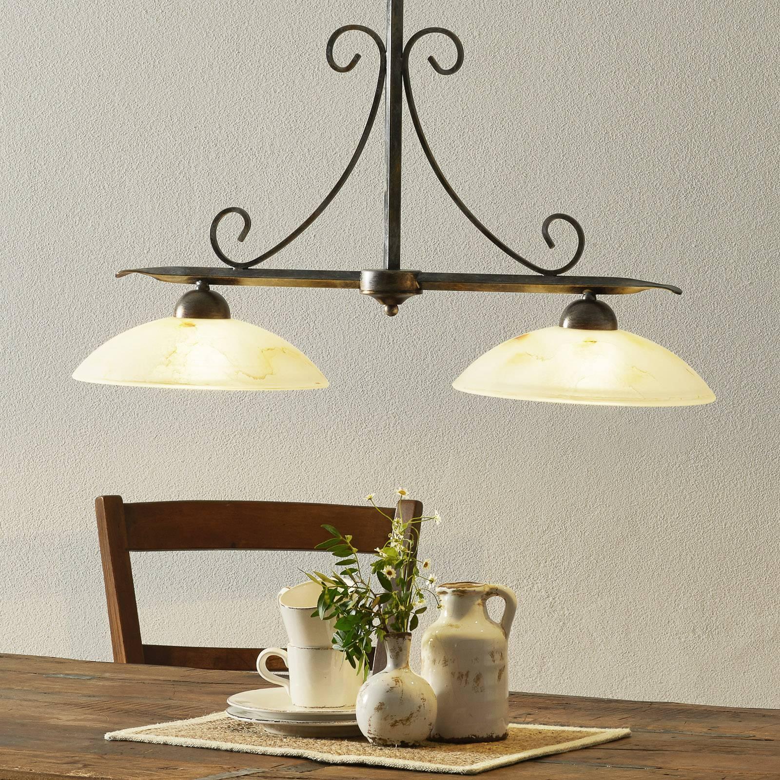 Hanglamp Dana in landhuisstijl met 2 lampjes