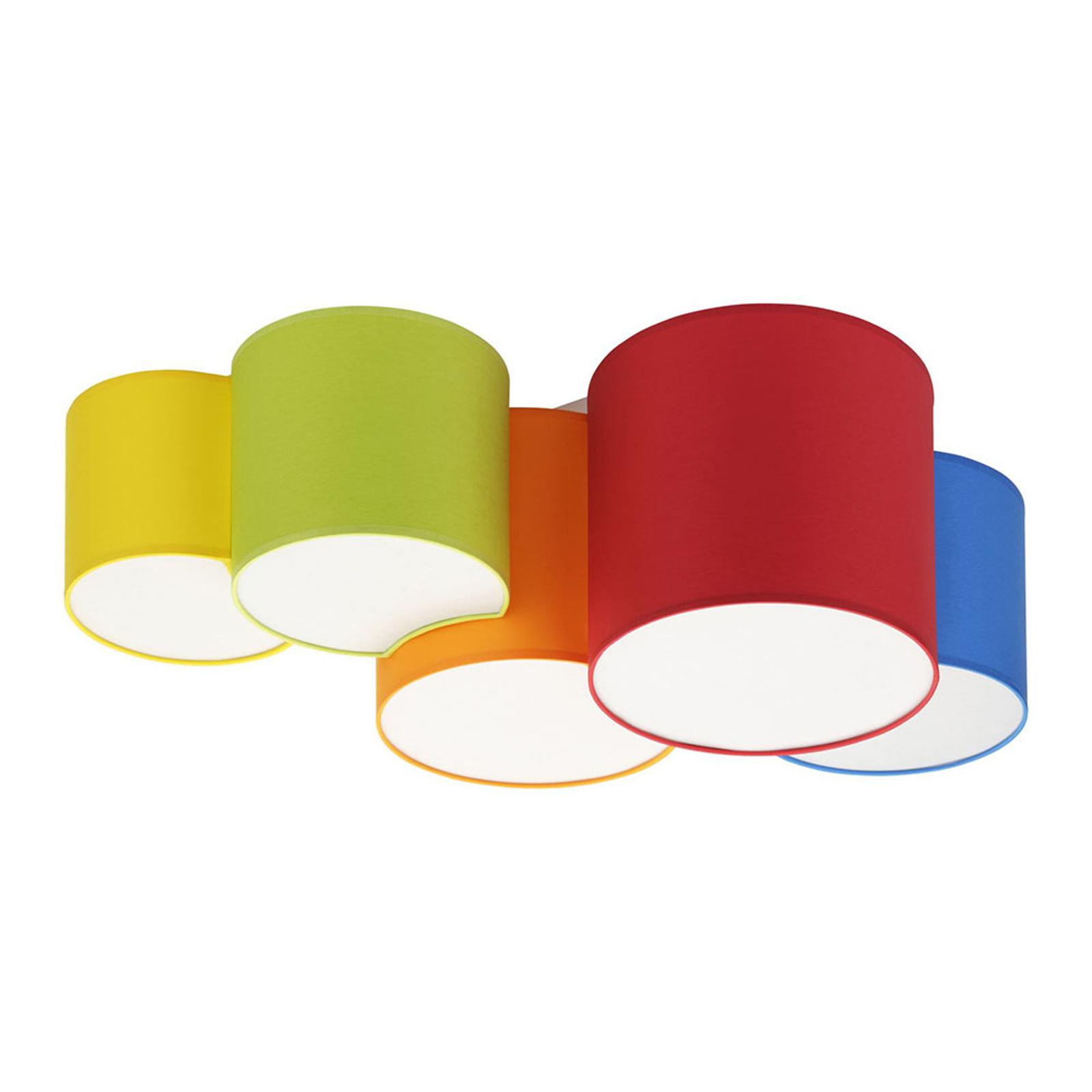 Plafondlamp Mona 5-lamps, meerkleurig