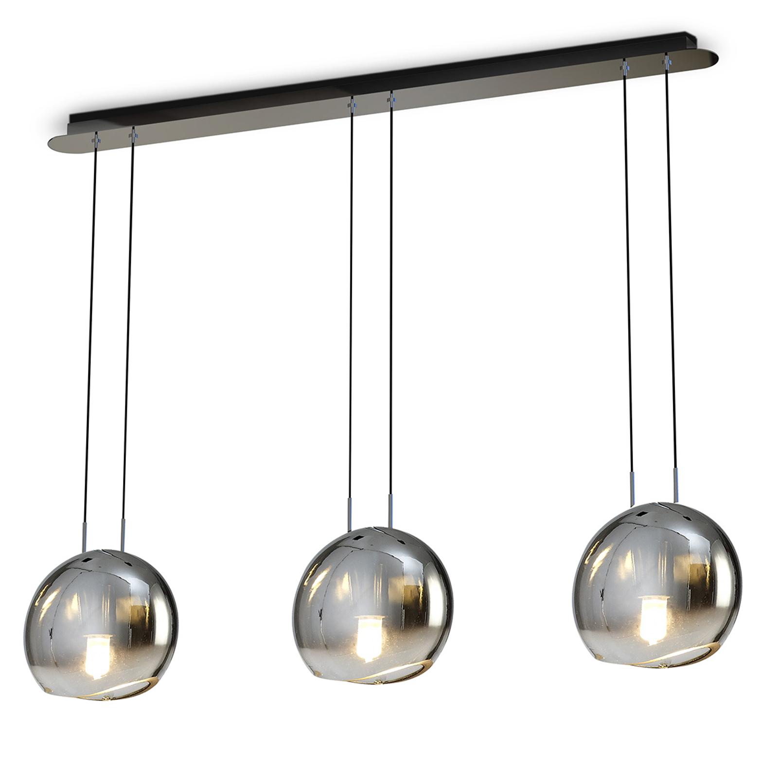 Hanglamp Lens m. 3 lampjes en glazen lampenkappen